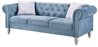 """Thumbnail for your product : Rosdorf Park Tena 83"""" Velvet Rolled Arm Chesterfield Sofa Fabric: Pale Blue"""