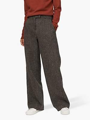 Brora Harris Tweed Wide Leg Trousers, Sorrel/Peat