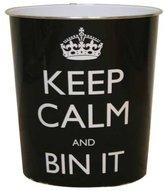 JVL Keep Calm and Bin It Waste Paper Bin - 25 x 26.5 cm, Black