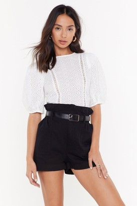 Nasty Gal Womens With Added Volume Broderie Blouse - white - L