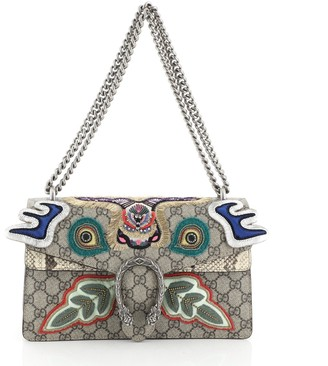 Gucci Dionysus Bag Embroidered GG Coated Canvas with Python Small