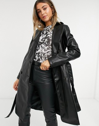 New Look faux leather trench coat in black