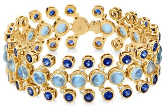 Temple St. Clair Celestial 18K Yellow Gold, Diamond, Moonstone & Sapphire Galaxy Link Bracelet