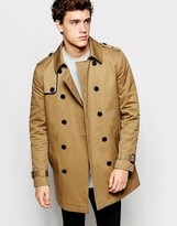 Asos Shower Resistant Trench Coat With Double Breast In Tobacco