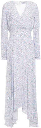Paul Smith Asymmetric Floral-print Crepe De Chine Midi Dress