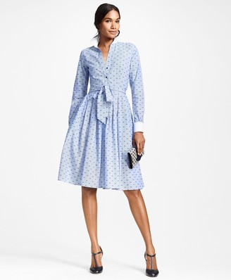 Brooks Brothers Clip-Dot Cotton Dobby Shirt Dress