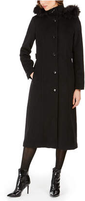 Calvin Klein Petite Hooded Single-Breasted Coat With Faux-Fur Trim