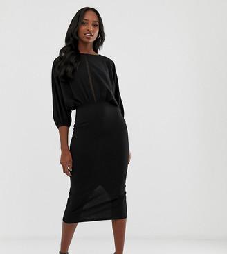 Asos Tall DESIGN Tall oversize batwing midi pencil dress with ladder trim-Black