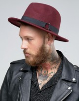 Asos Fedora Hat In Burgundy With Horse Shoe Buckle