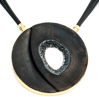 Alistair R Black Onyx Diamond & 18 Carat Gold Statement Necklace