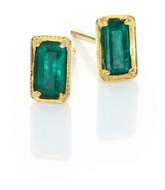 Ila Leone Emerald & 14K Yellow Gold Stud Earrings