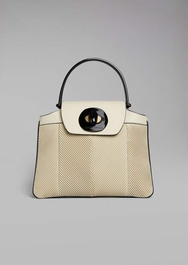 Giorgio Armani Top Handle Bag In Leather