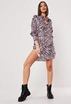 Missguided Pink Zebra Print Oversized Shirt Dress
