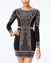 Speechless Juniors' Long-Sleeve Embellished Bodycon Dress