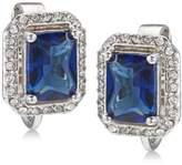Carolee Silver-Tone Pavé & Blue Stone Clip-On Stud Earrings