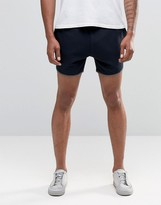 Asos Runner Shorts With Contrast Piping In Navy