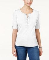 Karen Scott Lace-Up Cotton T-Shirt, Only at Macy's