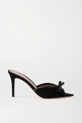 Gianvito Rossi 85 Bow-detailed Satin-trimmed Suede Mules - Black