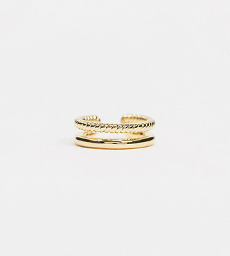 Orelia gold plated ear cuff with double row