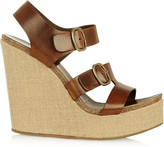 Pedro Garcia Teri leather and canvas wedge sandals