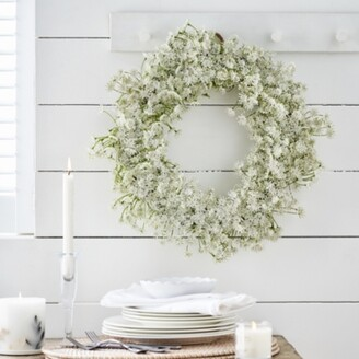 The White Company Queen Anne Lace Wreath, Natural, One Size