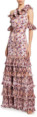 Alexis Amonda Floral Pleated Tiered Long Dress