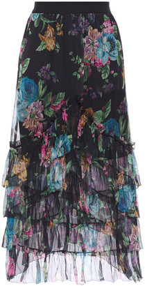 Zimmermann Tiered Floral-print Silk-georgette Midi Skirt