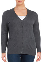 Lord & Taylor Plus Button-Front Merino Wool Cardigan