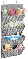 mDesign Chevron Wall Mount/Over Door Fabric Closet Storage Organizer for Toys, Baby/Kids Clothing - 4 Pockets, Gray/Cream