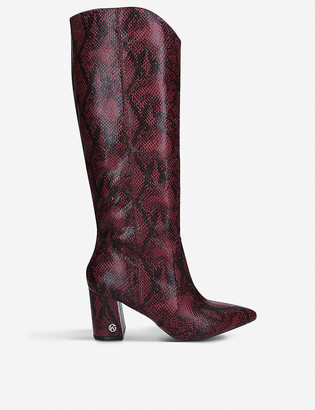 Kg Kurt Geiger Sunny snakeskin-print faux-leather knee-high boots