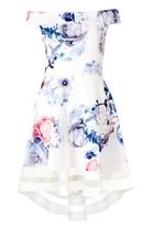 Quiz Cream Blue And Pink Floral Print Bardot Dip Hem Dress