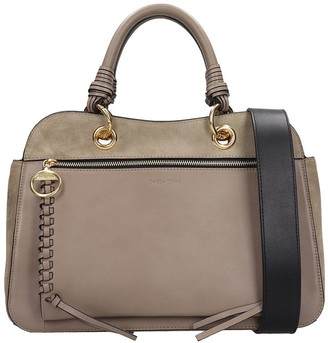 See by Chloe Hand Bag In Grey Suede And Leather
