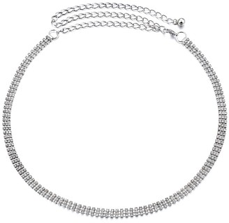 Trimming Shop Women's Metal Chain Charm Belt Diamante Rhinestone Studded Waistband Fastening Stylish Clasp for Fashion Accessories Casual Formal and Western Outfits