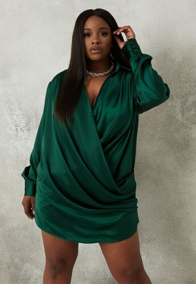 Missguided Plus Size Green Cowl Neck Shirt Mini Dress