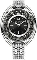 Swarovski Crystalline Stainless Steel Black-Dial Oval Bracelet Watch