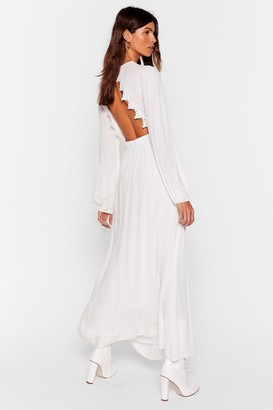 Nasty Gal Womens Be Free Broderie Anglaise Maxi Dress - White