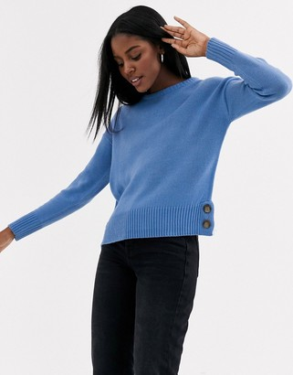 Brave Soul crew neck sweater with button detail in blue