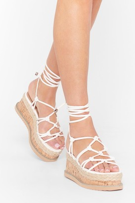 Nasty Gal Womens We're the Woven Ones Strappy Platform Sandals - White