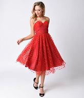 Unique Vintage 1950s Red Swiss Dot Dandridge Strapless Swing Dress