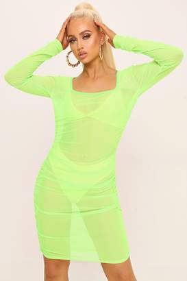 I SAW IT FIRST Neon Lime Square Neck Ruched Side Mesh Mini Dress