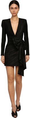 Givenchy Pleated Techno Satin Dress W/ Bow