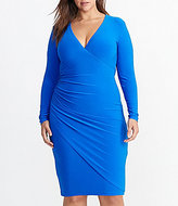 Lauren Ralph Lauren Plus Ruched Long Sleeve V-Neck Jersey Dress