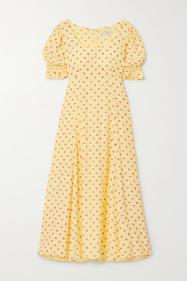 Faithfull The Brand Net Sustain Linnie Floral-print Crepe Midi Dress - Yellow