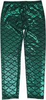 Simplicity Kids Mermaid Fish Scale Print Full Length Leggings Pants