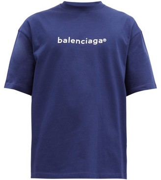 Balenciaga Copyright Logo-print Cotton T-shirt - Blue