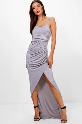 boohoo Strappy Square Neck Wrap Maxi Dress