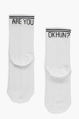 boohoo Are You Ok Hun? Slogan Ankle Socks