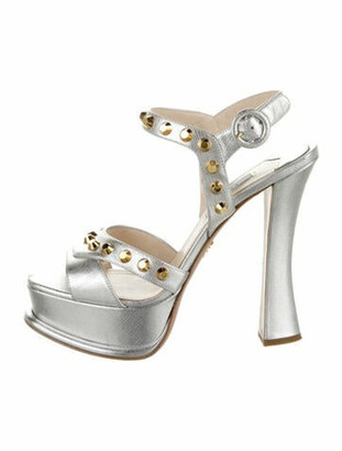 Prada Leather Studded Accents Sandals Silver