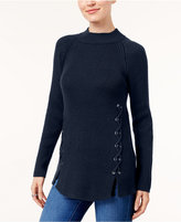 Style&Co. Style & Co Ribbed Lace-Up Sweater, Created for Macy's