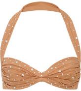 Norma Kamali Bill Ruched Crystal-embellished Stretch-tulle Halterneck Bikini Top - Sand